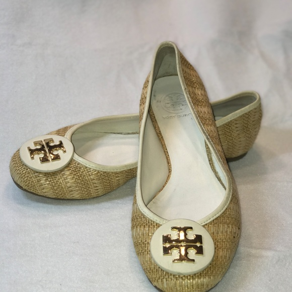 Tory Burch Leather and Straw Flats, Size 10M